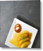 Banana Flambee With Caramel Asian Dessert Metal Print