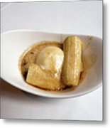 Bananas Foster In A White Dish Metal Print