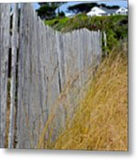 Bandon Beach Fence Metal Print
