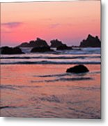 Bandon Beach Sunset Silhouette Metal Print