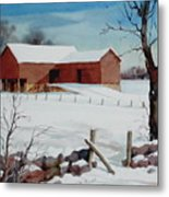 Bankbarn In The Snow Metal Print