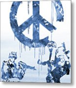 Banksy Soldiers-blue Metal Print
