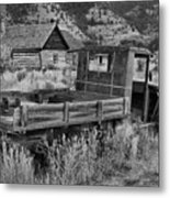 Bannack Extended Parking Black And White Metal Print