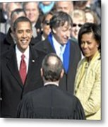 Barack Obama Is Sworn In As The 44th Metal Print by Everett
