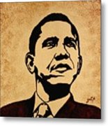 Barack Obama Original Coffee Painting Metal Print by Georgeta  Blanaru