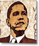 Barack Obama Words Of Wisdom Coffee Painting Metal Print by Georgeta  Blanaru