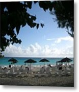 Barbados Umbrellas Metal Print