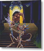 Barbarian And Skeleton Wizard Metal Print