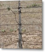 Barbwire and Old Wood Fence Post Metal Print