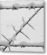 Barbwire Fence In Snow 1 Metal Print