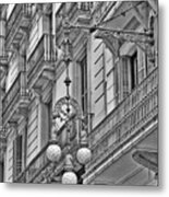 Barcelona Balconies In Black And White  Metal Print