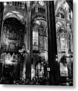 Barcelona Cathedral Interior Bw Metal Print