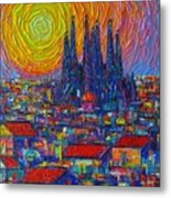 Barcelona Colorful Sunset Over Sagrada Familia Abstract City Knife Oil Painting Ana Maria Edulescu Metal Print