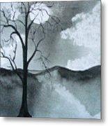 Bare Tree In Moonlight Metal Print