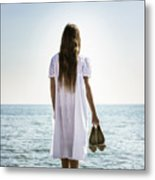 Barefoot At The Sea Metal Print