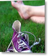 Barefoot In The Grass Metal Print by David April