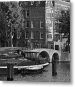 Barges By The Bridge Metal Print