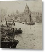 Barges On The South Bank Metal Print