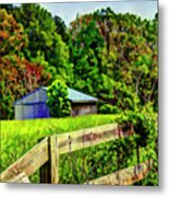 Barn And Fence In Tall Grass Metal Print
