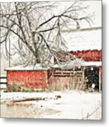 Barn And Pond Metal Print