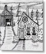 Barn And Sheep Metal Print
