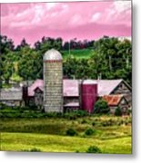 Barn And Silo With Infrared Touch Of Pink Effect Metal Print
