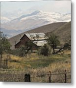Barn And Snow Metal Print