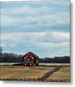 Barn And Split Rail Fence Metal Print