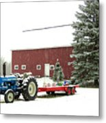 Barn And Tractor Holiday Scene Metal Print