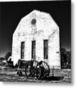Barn And Tractor In Black And White Metal Print