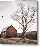 barn and tree - New York State Metal Print