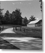 Barn At Yonah Mountain In Black And White 1 Metal Print