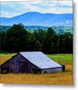 Barn Below Trees And Mountains Metal Print