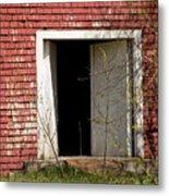 Barn Door And Cedar Metal Print