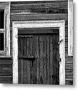 Barn Door And Windows Bw Metal Print