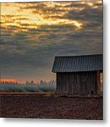 Barn House On The Burning Field Metal Print