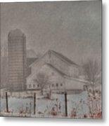 Barn In Fog Metal Print