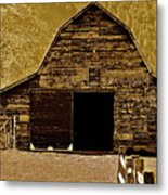 Barn In Sepia Metal Print