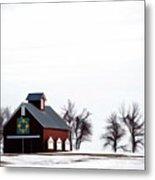 Barn In The Snow Metal Print