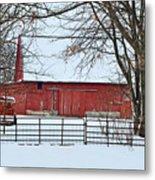 Barn In The Winter Metal Print