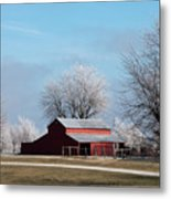 Barn On Frosty Morn Metal Print