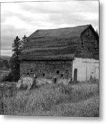 Barn On The River Flat Metal Print