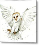 Barn Owl Flying Watercolor Metal Print