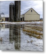 Barn Reflection After A Snowstorm Metal Print