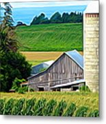 Barn Silo And Crops In Nys Expressionistic Effect Metal Print