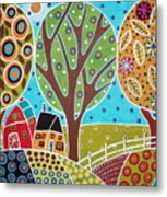 Barn Trees And Garden Metal Print by Karla Gerard