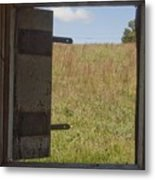 Barn Window View Metal Print