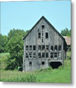 Barn With Chickens In Window Metal Print