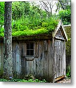 Barn With Green Roof Metal Print