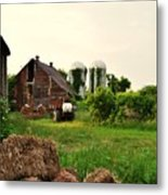 Barn With Silos And Hay Metal Print
